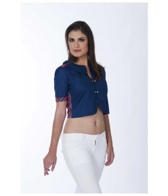 Casual Short Sleeve Solid Womens Blue Top