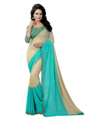Ethnikaaz Turquoise Georgette Saree-Pading-Rama
