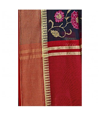Shakunt Weaves Navy Blue Cotton Silk Casual Wear Embroidered Saree
