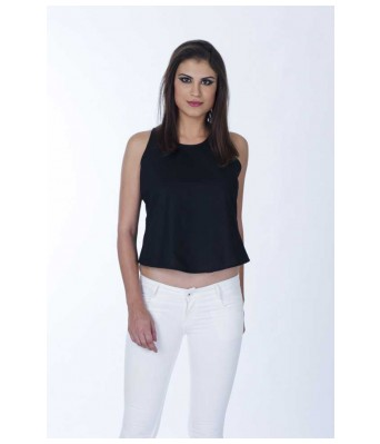Casual Sleeveless Solid Womens Black Top