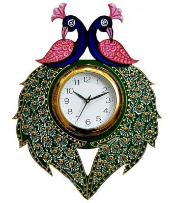 V Brown Green Color Jari Work Feather  Wooden Analog Wall Clock