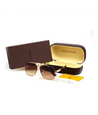 LOUIS VUITTON SUNGLASSES Brown Square Sunglasses ( S34 )