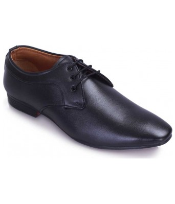 Anti Wrinkle Lace Up For Men  (Black)