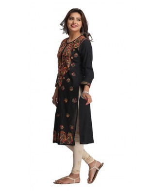 COLONIAL Cotton Chikan Work Kurti / Elegant Cotton Kurti with Chikan Work BLACK Color
