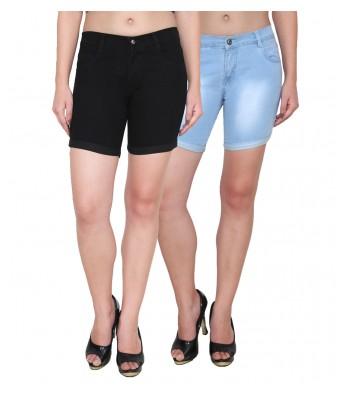 Ansh Fashion Wear Women Denim Lycra Strechable Blue Shorts Pack of 2