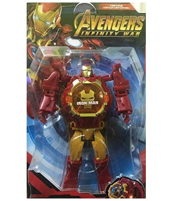 Iron Man Figures Transformer Robot Toy Deformation to Digital Wrist Watch for Kids (Red)
