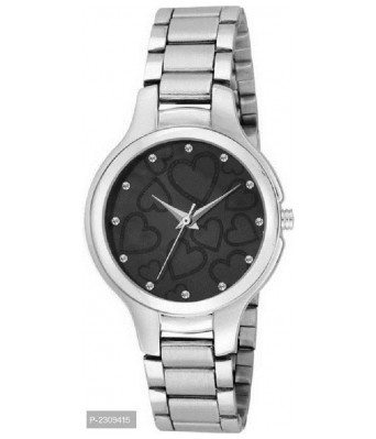 Stylish Designer Analogue Silver Black Dial Watch - For Girls