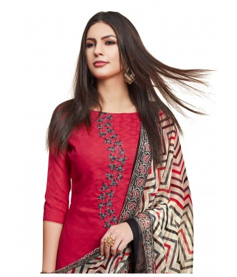 Red Party Cotton Jacquard Unstitched Dress Material With Dupatta