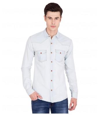 American-Elm Full Sleeve Denim Blue Shirts for Men