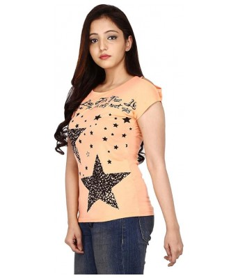 Romile Fashion Casual wear Peach color Printed top for Womens & Girls