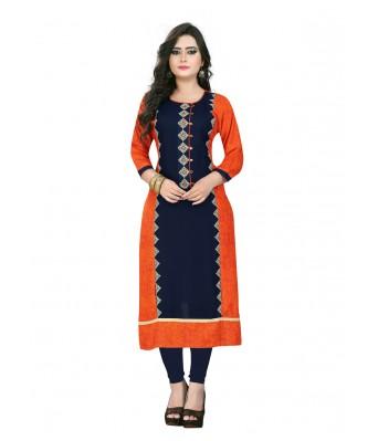 Dark Blue & Orange Plain Rayon Full Stitched Kurtis - RK Fashions