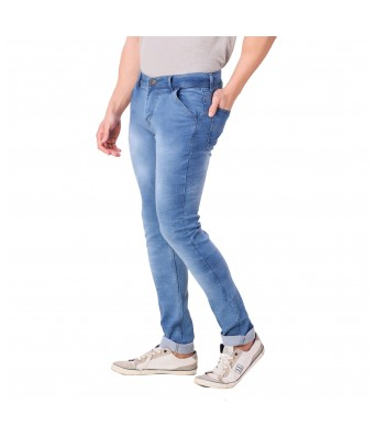 Ansh Fashion Wear Mens Regular Fit Denim Strechable Round Pocket Light Blue Jeans