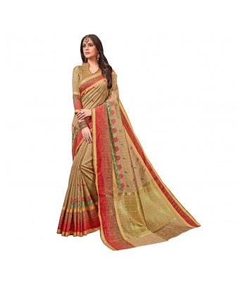 Triveni Beige Art Silk Festival Wear Woven Saree