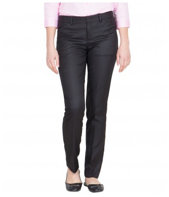 Tiger Grid Womens Black Cotton Rayon Formal Trouser