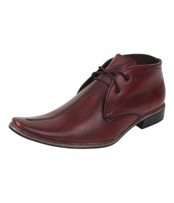 Molessi  Wine Color Leather Ankle Shoes