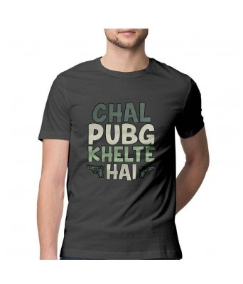 Hyper Take Mens Chal Pubg Khelte Hai Round Neck Charcoal Grey Color