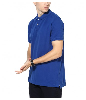 iLyk Mens  Blue Solid Polo  T-Shirt