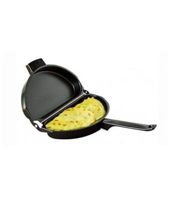 AJSCOP Design Non-Stick Folding Omelette Pan Hand Frying Pan Stainless Iron Double Side Grill Pan Outdoor Panelas Pans