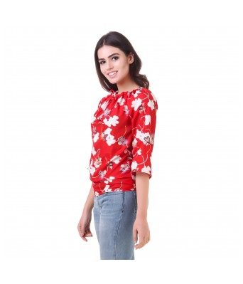 LeSuzaki Womens Red Color Poly Crepe Top with White Floral Print