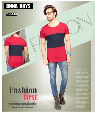 Ansh Fashion Wear Stylish Round Neck Striped Half Sleeves Maroon & Black Color T-Shirt for Mens & Boys