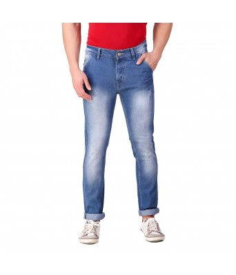 Ansh Fashion Wear Mens Regular Fit Denim Strechable Cross Pocket  Mild Distress Heavy Faded Blue Jeans