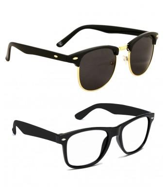 Ansh Fashion Wear Uv Protected Wayfarer Unisex Sunglasses Pack Of 2
