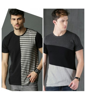 YELLOW TREE BLACK & WHITE COLOR ROUND NECK  COMBO-22 FOR MEN & BOY'S T -SHIRTS