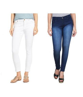 Ansh Fashion Wear Womens Denim Jeans - Contemporary Regular Fit Denims for Women - Mid Rise Ankle Length Jeans - White & Blue