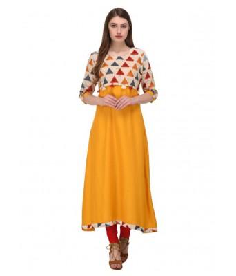 Yellow Embroidered Rayon  Full Stitched Kurtis - RK Fashions