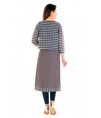 V Brown Casual Wear Stylish Women Kurti1