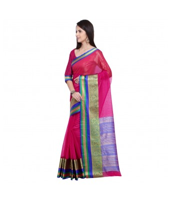 Triveni Pink Cotton Silk Festival Wear Viscose Design With Blouses  Sarees