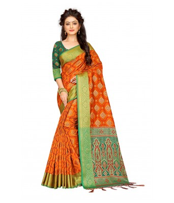 Orange Silk Blend Designer Party Wear Saree With Unstitched Blouse