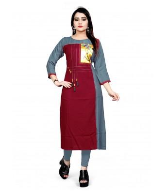 Marron Color Heavy Reyon Designer With Print Butta And Thread Work & Wodden Latkan