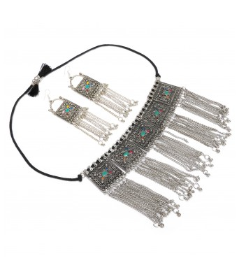 Aradhya Sterling Silver Boho Afghani Turkish Necklace with Earrings for Women