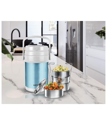 Milton Woofer 4 Thermosteel Wireless Bluetooth Speaker Tiffin (4 Containers) Set of 4, Cyan