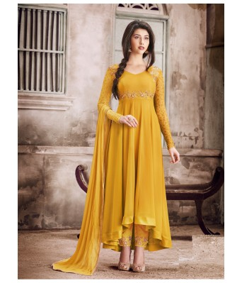 Dress Material - Yellow Party Faux Georgette Semi-Stitched Salwar Suit With Dupatta - RK Fashions