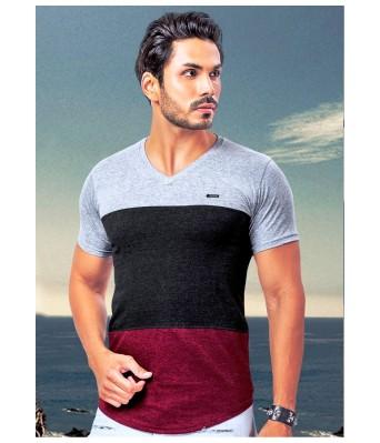 Ansh Fashion Wear Stylish V Neck Striped Half Sleeves Maroon & Grey Color T-Shirt for Mens & Boys