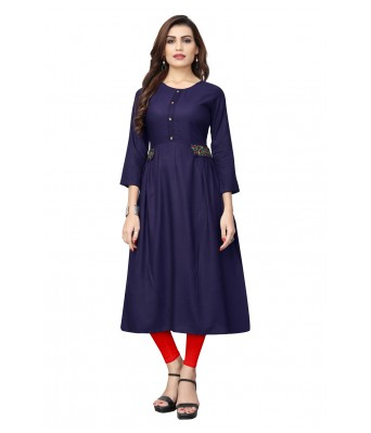 Blue Plain & Embroidered Rayon Full Stitched Kurtis - RK Fashions