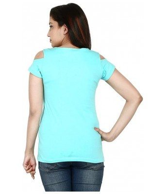 Romile Fashion Half sleeve cold shoulder Green color Top for Womens & Girls