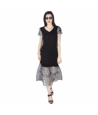 StarShop20 Black Animal Print Solid Fit and Flare Dresses
