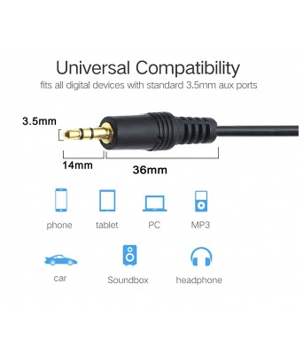 DAHSHA 3.5mm Male to Male Stereo Audio AUX Cable for Car/Home Stereos and More(Black) (5 M)