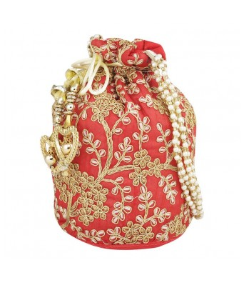 Caterfly Ethnic Clutch Silk Red & Cream Color Potli Batwa Pouch Bag Potli