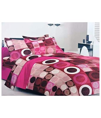 Paras traders Presents Fine Quality 100% Cotton Fine Stuff Bedsheet/Pink in Shade/with 2 Pillow Cover