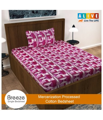 ALIVE-Live The LIFE 100% Cotton Single Bed Sheet  with 1 Pillow Cover| Pink|