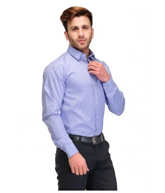 Formals by Koolpals-Cotton Blend Shirt White Vertical Stripes on Office Blue
