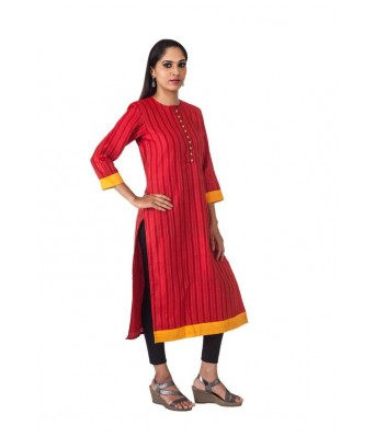 The Signature Attire Red Color Cotton Kurti with loops and buttons