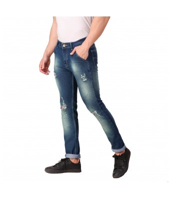 Rock Hudson Mens Regular Fit Denim Strechable Cross Pocket Green Spray Faded Mild Distress Heavy Faded Dark Blue Jeans