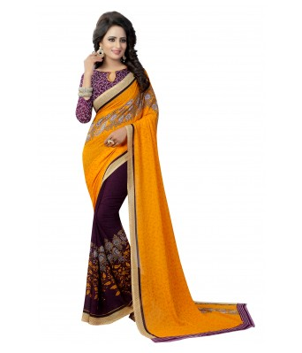 Ethnikaaz Yellow Georgette Saree-Partly-Yellow