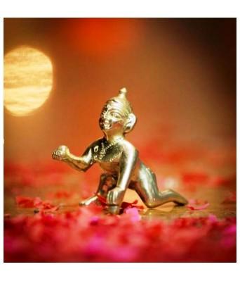 DECORATIVE SPIRITUAL BEAUTIFUL LADDU GOPAL BRASS IDOL (SIZE NO.2)