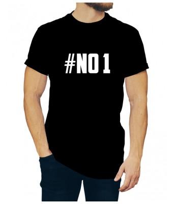 Black Color iLyk Round Neck NO 1 Stylish Printed Unisex T shirts